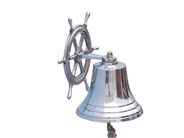 Chrome Hanging Ship Wheel Bell 8