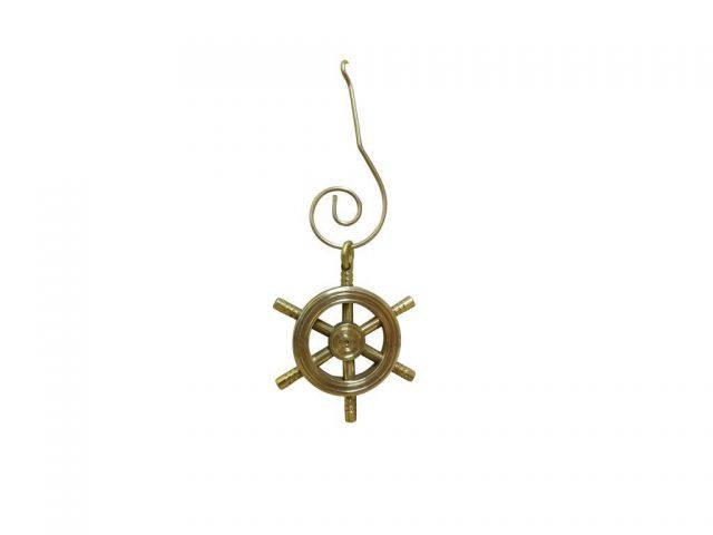 Solid Brass Decorative Ship Wheel Christmas Ornament 4