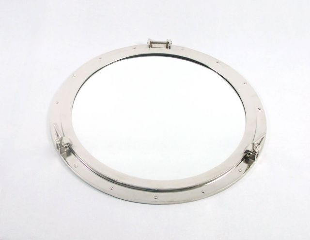 Deluxe Class Brushed Nickel Decorative Ship Porthole Mirror 30