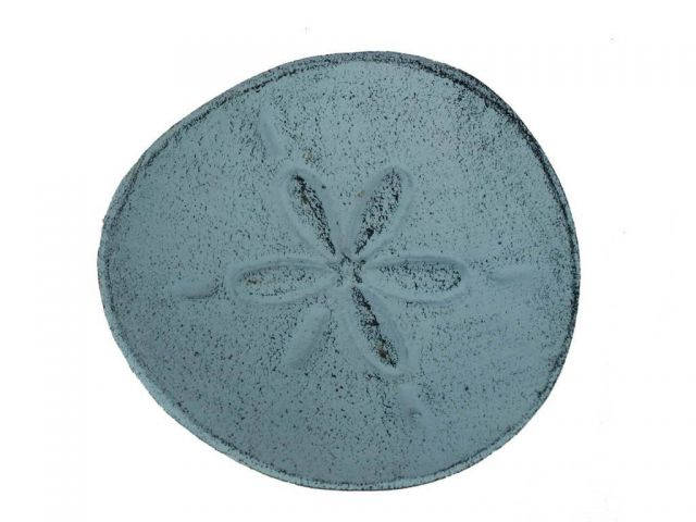 Dark Blue Whitewashed Cast Iron Sand Dollar Decorative Plate 6