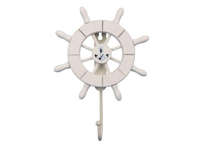 White Decorative Ship Wheel with Anchor and Hook 8