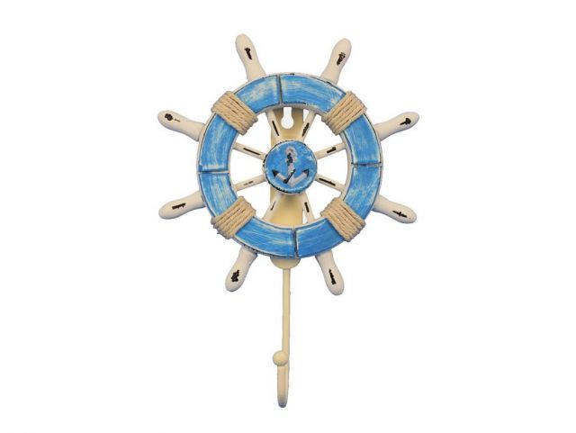 Rustic Light Blue and White Decorative Ship Wheel with Anchor and Hook 8