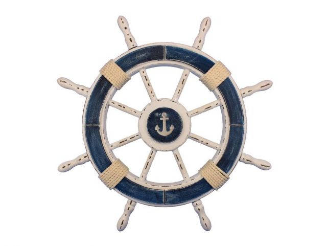 Rustic Dark Blue and White Decorative Ship Wheel With Anchor 24