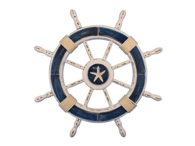 Rustic Dark Blue and White Decorative Ship Wheel With Starfish 24