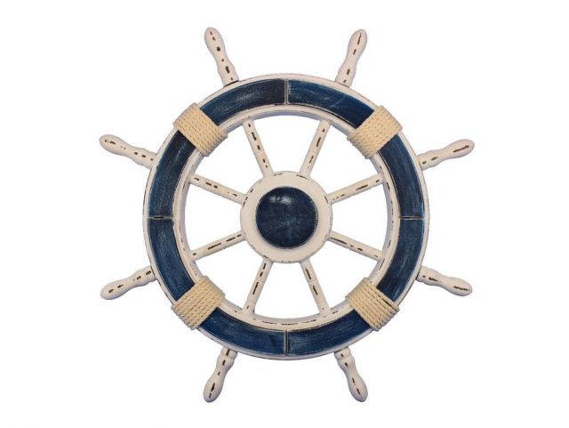 Rustic Dark Blue and White Decorative Ship Wheel 24