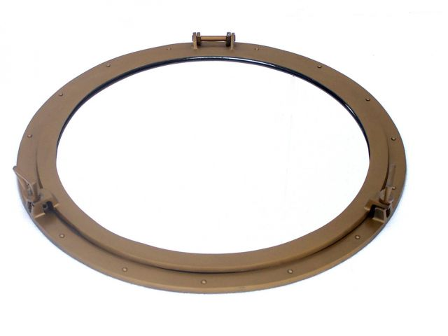Deluxe Class Antique Brass Decorative Ship Porthole Mirror 30