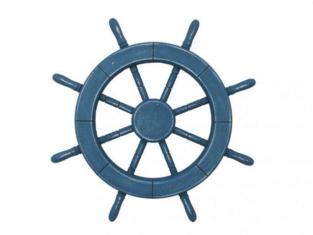 Rustic All Light Blue Decorative Ship Wheel 18