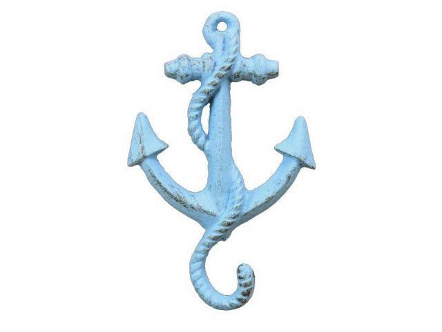 Rustic Light Blue Cast Iron Anchor Hook 5