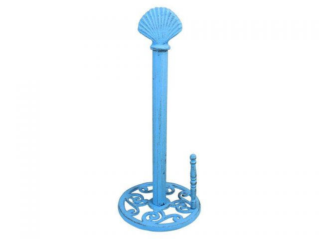 Rustic Light Blue Cast Iron Seashell Paper Towel Holder 16