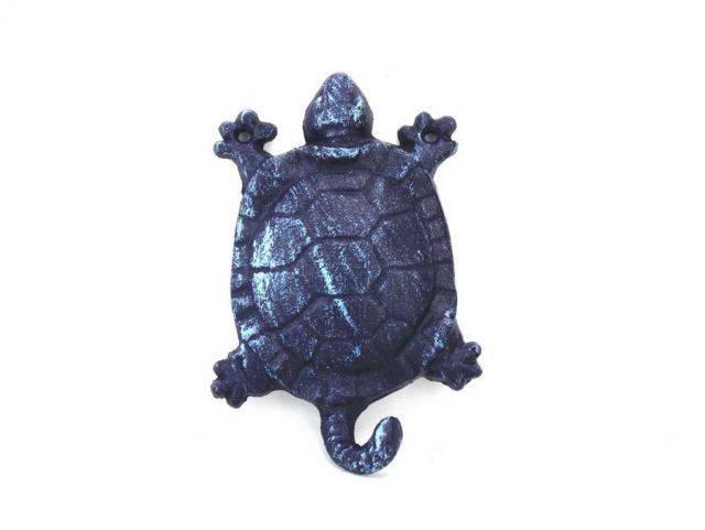 Rustic Dark Blue Cast Iron Turtle Key Hook 6