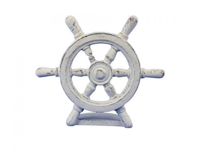 Whitewashed Cast Iron Ship Wheel Door Stopper 9