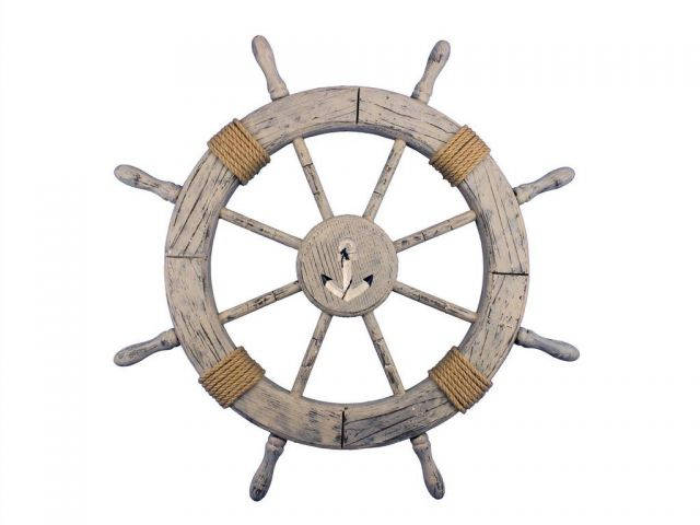 Wooden Rustic Decorative Ship Wheel With Anchor 30