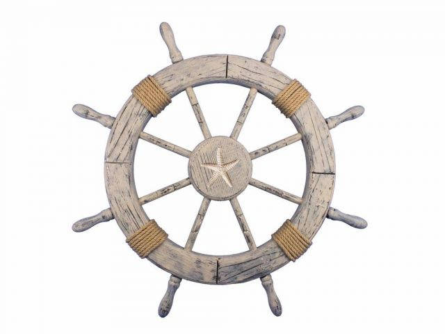 Wooden Rustic Decorative Ship Wheel With Starfish 30
