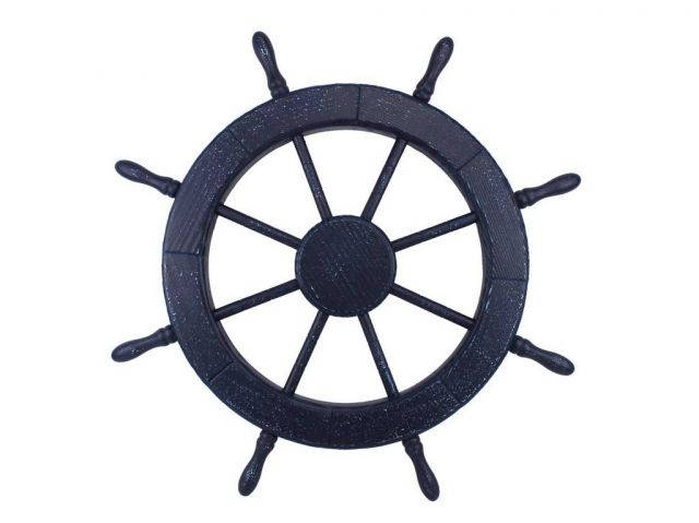 Wooden Rustic All Dark Blue Decorative Ship Wheel 30