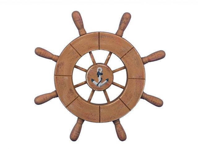 Rustic Wood Finish Decorative Ship Wheel With Anchor 9