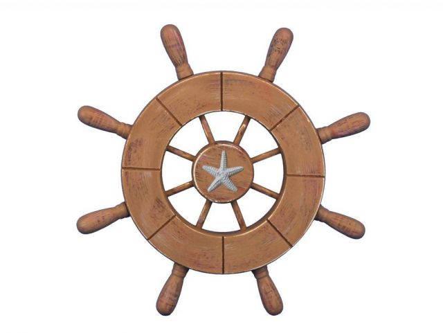 Rustic Wood Finish Decorative Ship Wheel With Starfish 9