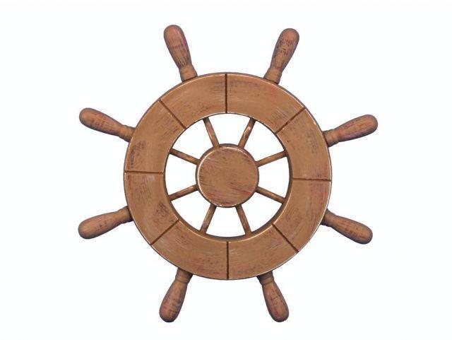 Rustic Wood Finish Decorative Ship Wheel 9