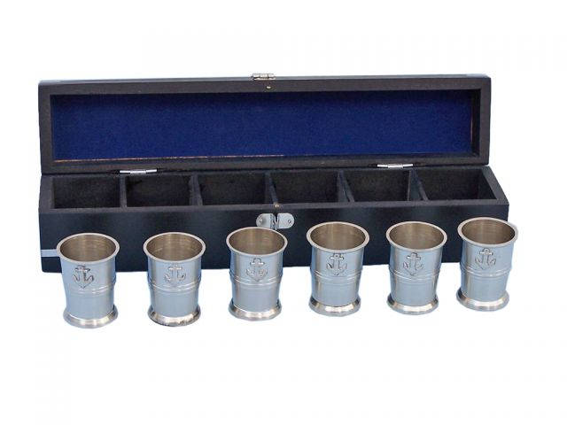Brushed Nickel Anchor Shot Glasses With Rosewood Box 12 - Set of 6