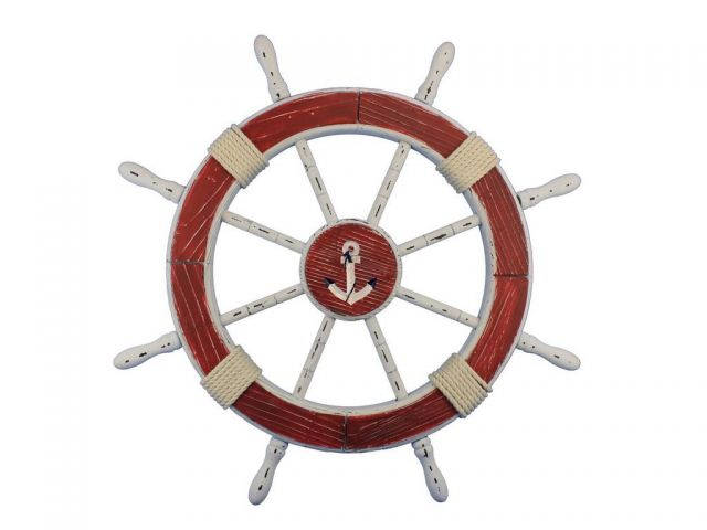 Wooden Rustic Red and White Decorative Ship Wheel With Anchor 30