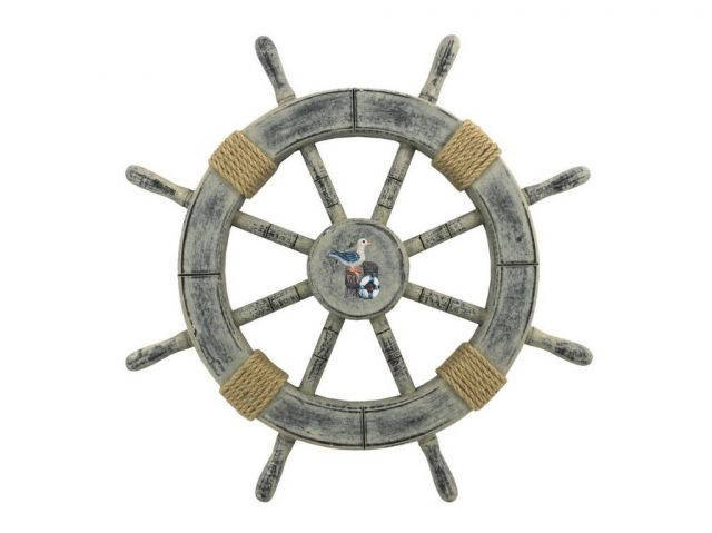 Rustic Whitewashed Decorative Ship Wheel With Seagull 18