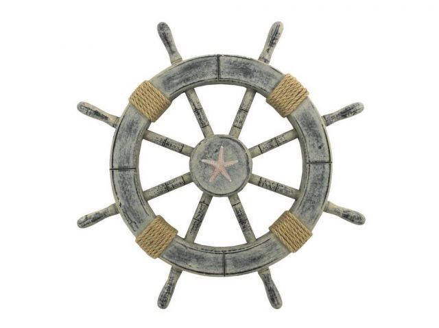 Rustic Whitewashed Decorative Ship Wheel With Starfish 18