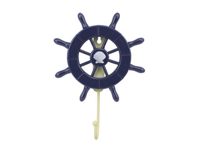Dark Blue Decorative Ship Wheel with Seashell and Hook 8