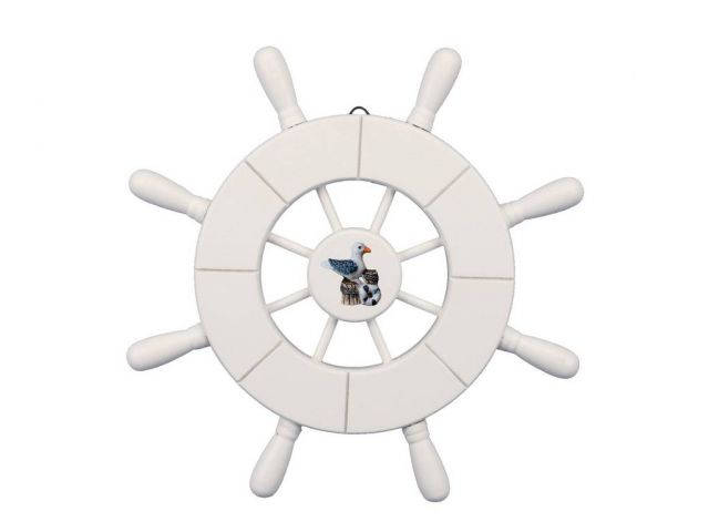 White Decorative Ship Wheel With Seagull 9