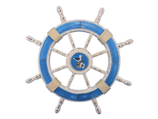 Rustic Light Blue and White Decorative Ship Wheel With Seagull 24