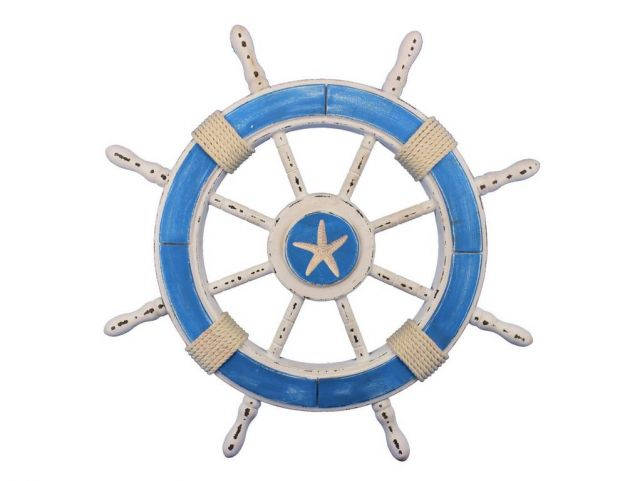 Rustic Light Blue and White Decorative Ship Wheel With Starfish 24