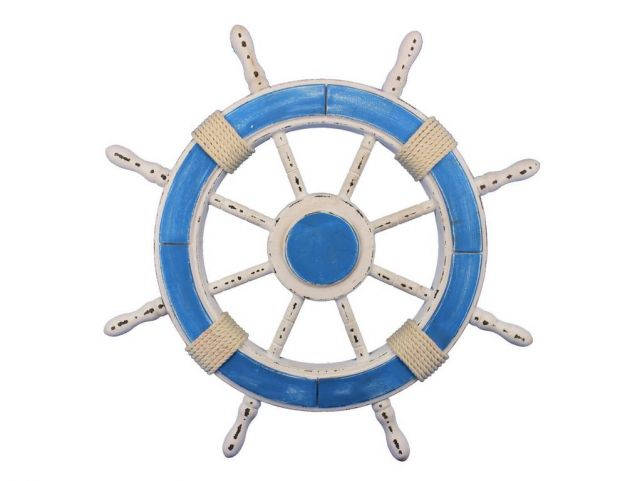 Rustic Light Blue and White Decorative Ship Wheel 24