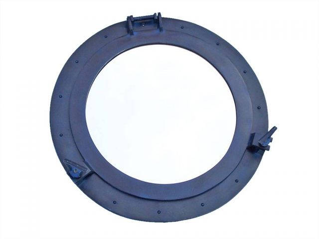 Rustic Blue Aluminum Deluxe Class Decorative Ship Porthole Window 24