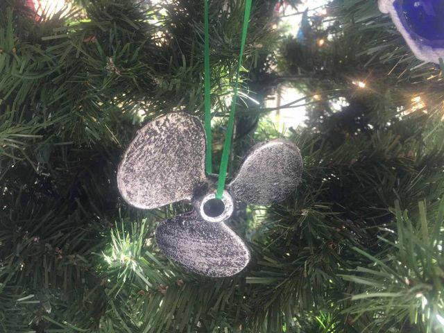 Antique Silver Cast Iron Propeller Christmas Ornament 4