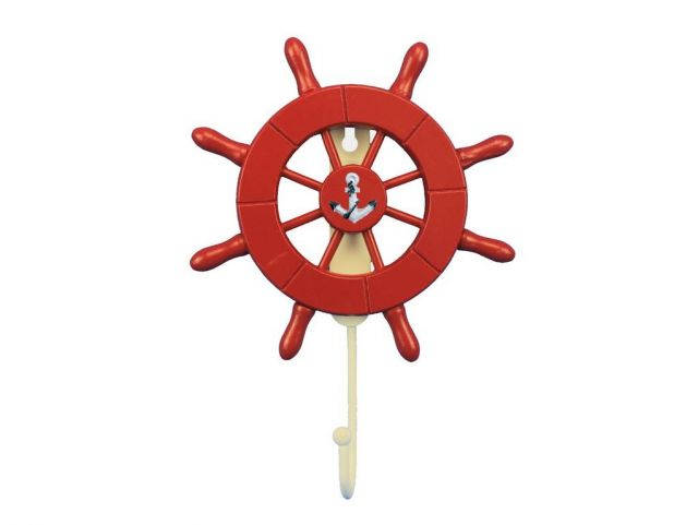 Red Decorative Ship Wheel with Anchor and Hook 8