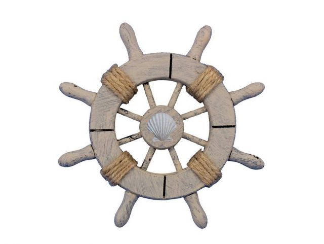 Rustic Decorative Ship Wheel With Seashell  6