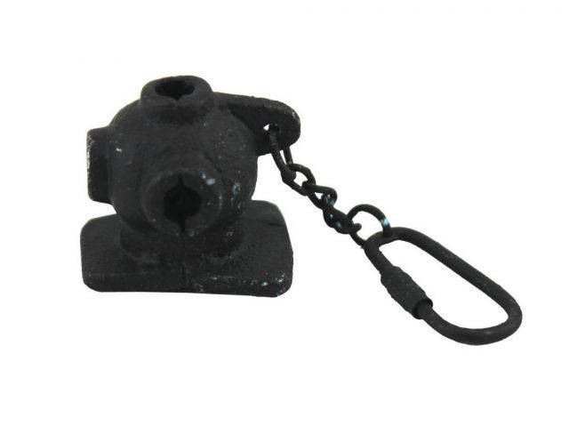 Rustic Black Cast Iron Diver Helmet Key Chain 5