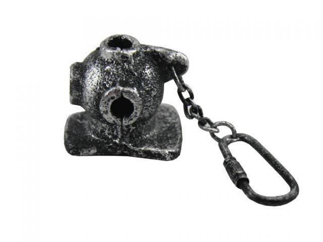Antique Silver Cast Iron Diver Helmet Key Chain 5