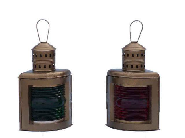 Antique Brass Port And Starboard Oil Lantern 17