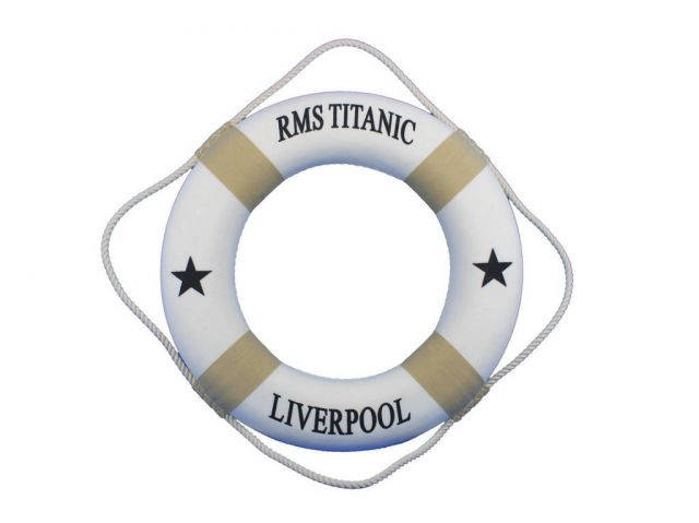 RMS Titanic Decorative Lifering 20 - White with Tan Bands