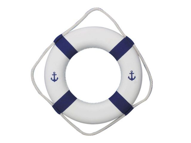 Classic White Decorative Anchor Lifering with Blue Bands 15