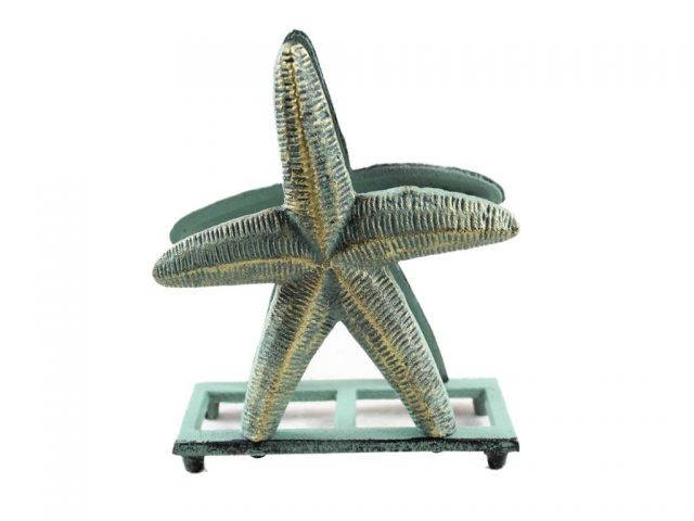 Antique Bronze Cast Iron Starfish Napkin Holder 6