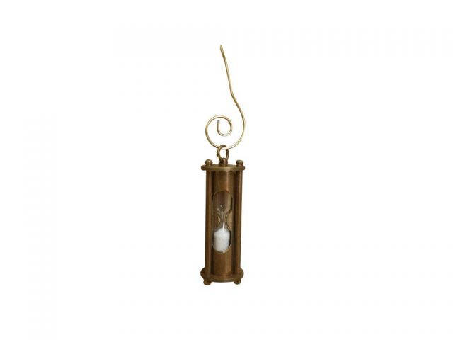 Antique Brass Hour Glass Christmas Ornament 5