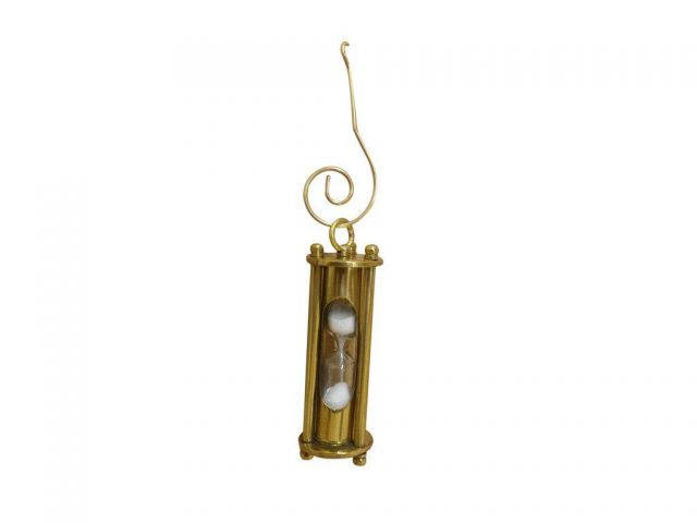 Solid Brass Hour Glass Christmas Ornament 5