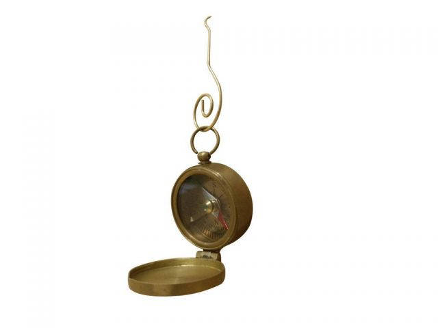 Antique Brass Decorative Compass with Lid Christmas Ornament 4