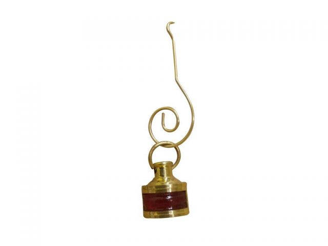 Solid Brass Red Ship Lamp Christmas Ornament 3