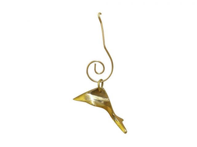 Solid Brass Dolphin Christmas Ornament 3