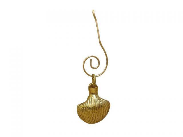 Solid Brass Seashell Christmas Ornament 4