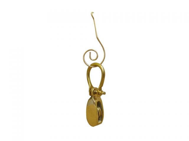 Solid Brass Single Pulley Christmas Ornament 4