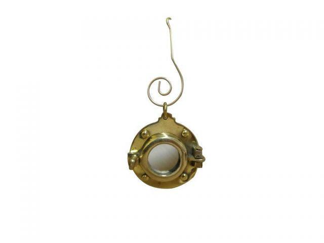 Solid Brass Porthole Mirror Christmas Ornament 4