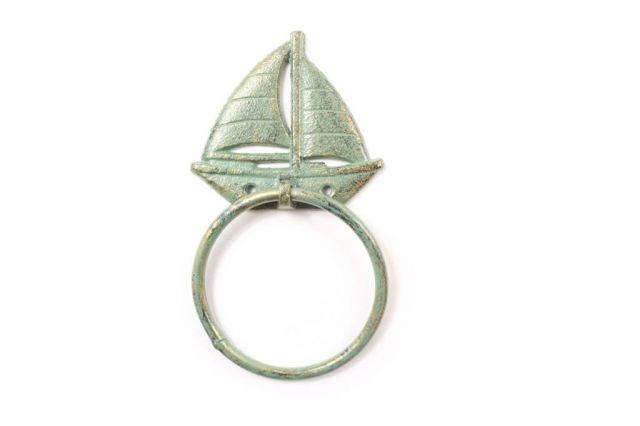 Antique Seaworn Bronze Cast Iron Sailboat Towel Holder 8