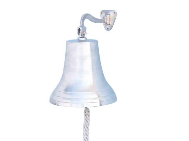 Brushed Nickel Hanging Ships Bell 18